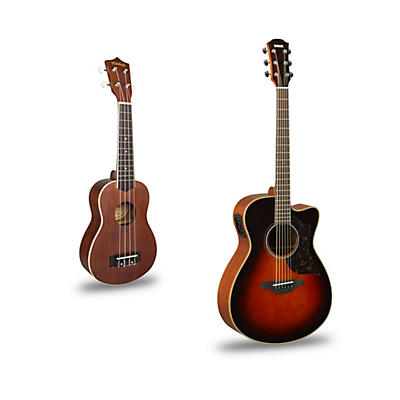 Yamaha AC1M Cutaway Concert Acoustic-Electric Guitar and Ukulele Package