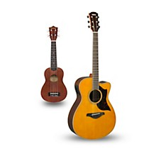 AC1R Cutaway Concert Acoustic-Electric Guitar and Ukulele Package Natural