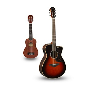 yamaha ac1r cutaway concert acoustic electric guitar and ukulele package musician 39 s friend. Black Bedroom Furniture Sets. Home Design Ideas