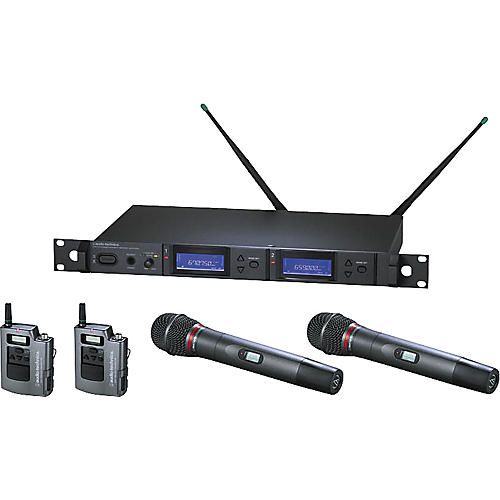 Audio-Technica AEW-5414 Artist Elite Dual Receiver Wireless System with Two Cardioid Dynamic Mics and Two UniPak Transmitters