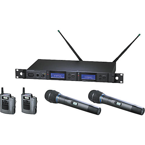 Audio-Technica AEW-5415 Artist Elite Dual Receiver Wireless System with Two Cardioid Condenser Mics and Two UniPak Transmitters
