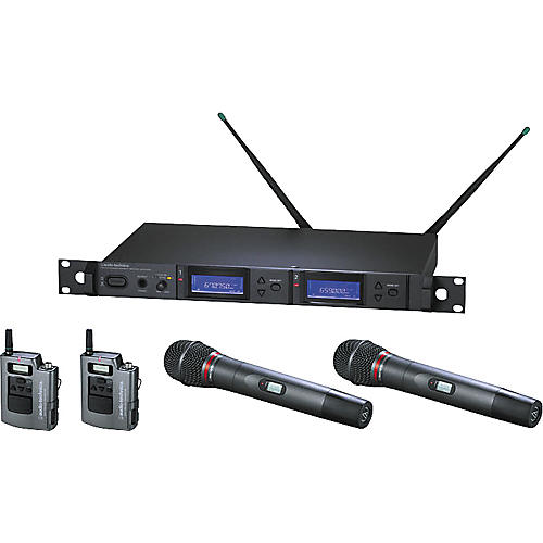 Audio-Technica AEW-5416 Artist Elite Dual Receiver Wireless System with Two Hypercardioid Dynamic Mics and Two UniPak Transmitters