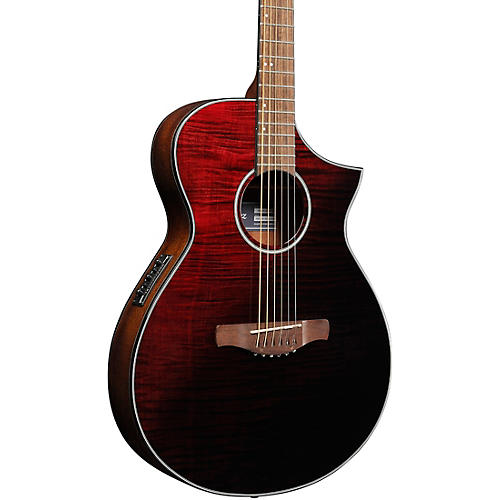 Ibanez AEWC32FM Thinline Acoustic-Electric Guitar Transparent Red Sunburst