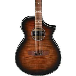 open box ibanez aewc4012fm 12 string acoustic electric guitar transparent tiger eye 190839422637. Black Bedroom Furniture Sets. Home Design Ideas