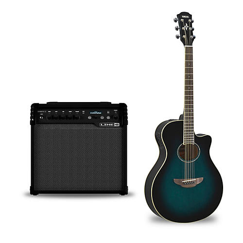 Yamaha APX600 Acoustic-Electric Guitar and Line 6 Spider V 30 Guitar Combo Amp