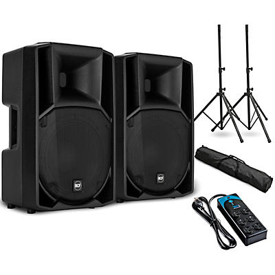 """RCF ART 712-A MK4 12"""" Powered Speaker Pair with Stands and Power Strip"""