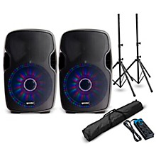 "Gemini AS-08BLU-LT 8"" Powered Speaker with LED Lights Pair and Power Strip"