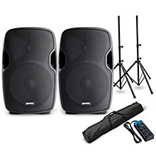 "Gemini AS-10BLU 10"" Powered Bluetooth Speaker Pair with Stands and Power Strip"