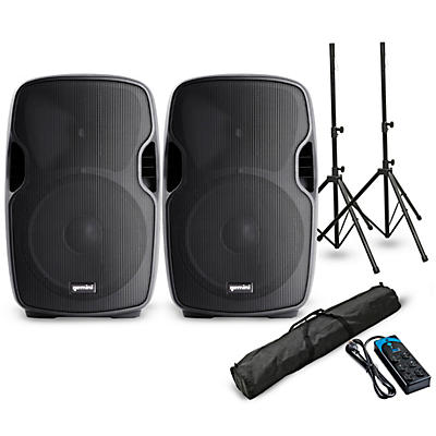 """Gemini AS-10BLU 10"""" Powered Bluetooth Speaker Pair with Stands and Power Strip"""