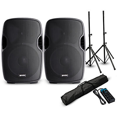 """Gemini AS-12P 12"""" Powered Speaker Pair with Stands and Power Strip"""