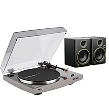 "Audio-Technica AT-LP2X Record Player with Mackie CR3 Gold Trim 3"" Monitors"
