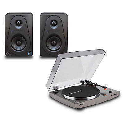 """Audio-Technica AT-LP2X Record Player with Sterling Audio 3"""" Monitors"""