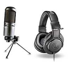 Audio-Technica AT2020 USB Mic with ATH-M20x Headphones