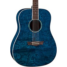 AXS Dreadnought Quilt Acoustic Guitar Transparent Blue