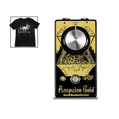 Earthquaker Devices Acapulco Gold V2 Power Amp Distortion Effects Pedal and Octoskull T-Shirt Large Black