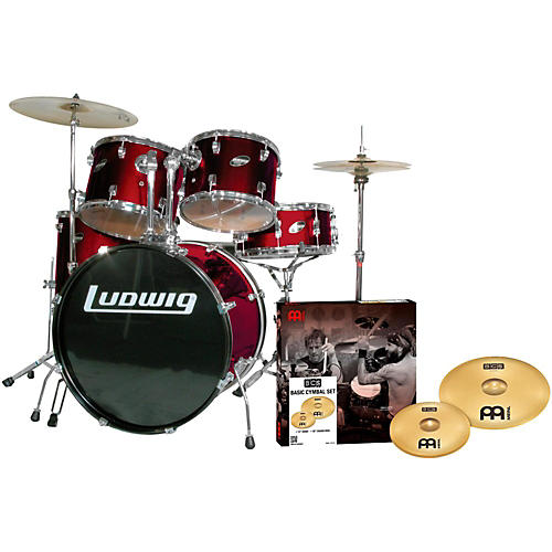 ludwig accent combo 5 piece drum set with meinl cymbals wine musician 39 s friend. Black Bedroom Furniture Sets. Home Design Ideas