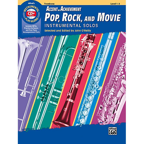 Alfred Accent on Achievement Pop, Rock, and Movie Instrumental Solos Trombone Book & CD