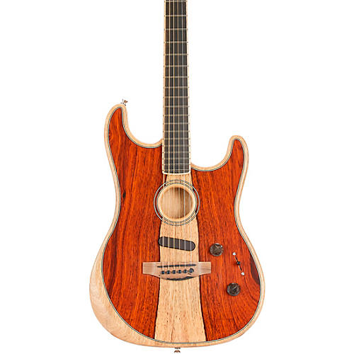 Fender Acoustasonic Stratocaster Exotic Wood Acoustic-Electric Guitar Natural Cocobolo