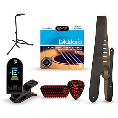 Musician's Friend Acoustic Guitar Accessory Kit: Strings, Picks, Strap, Tuner & Stand