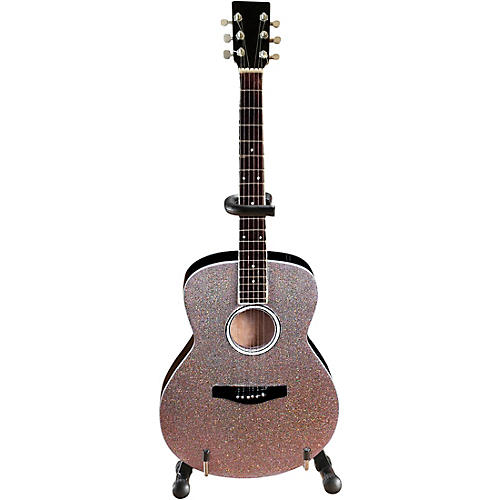 Acoustic Guitar with Glitter Rhinestone Finish Officially Licensed Miniature Guitar Replica