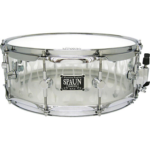 Spaun Acrylic Clear Snare Drum with Sandblasted Flames and Chrome Hardware