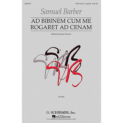 G. Schirmer Ad Bibinem Cum Me Rogaret Ad Cenam (First Edition) SATB a cappella composed by Samuel Barber