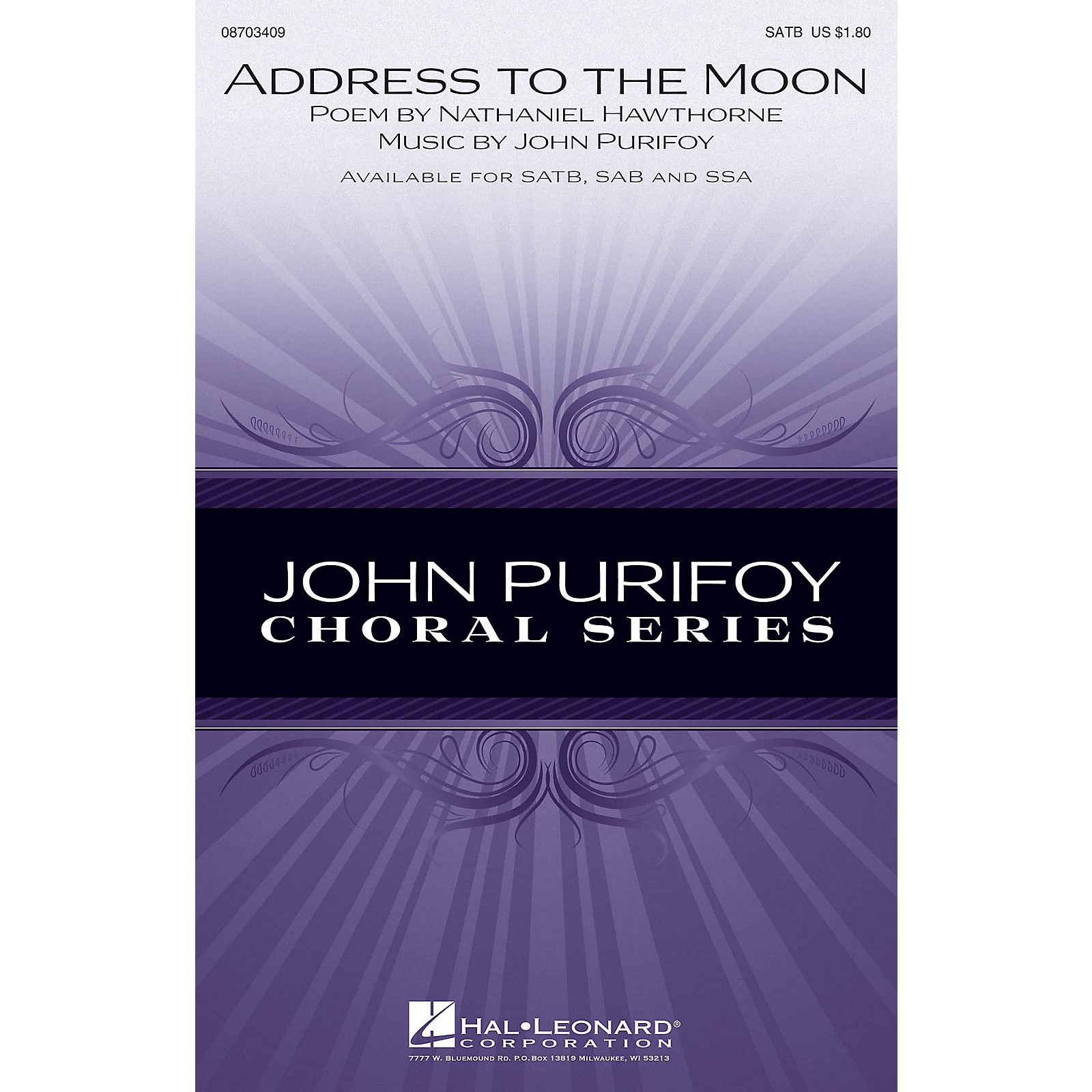 Hal Leonard Address to the Moon SATB composed by John Purifoy