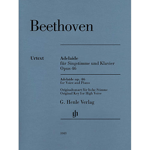 G. Henle Verlag Adelaide, Op. 46 Henle Music Folios Softcover  by Ludwig van Beethoven Edited by Helga Lühning
