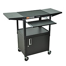 Open BoxH. Wilson Adjustable Height Cart with Keyboard Tray, Locking Cabinet and Drop Leaf Shelves