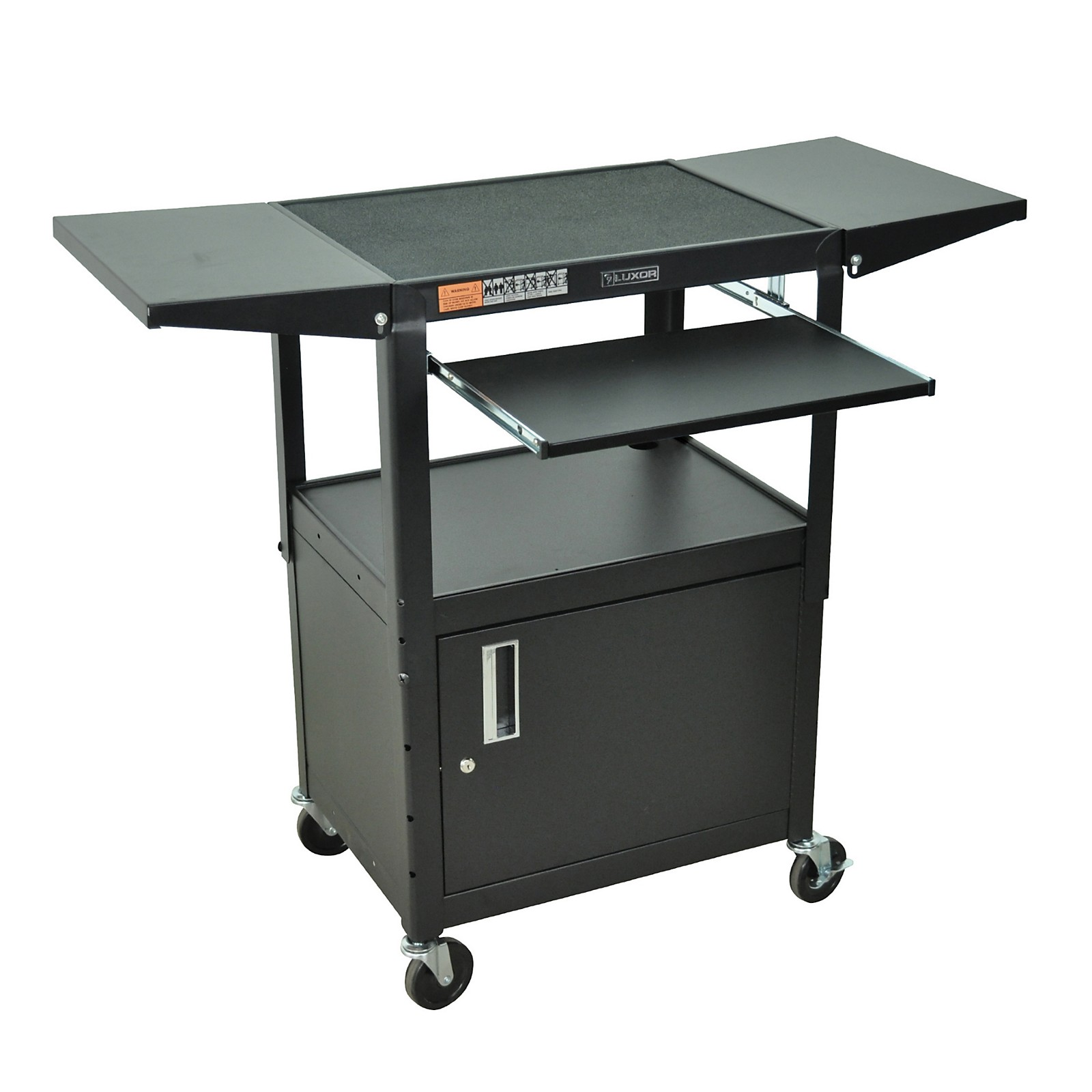 H. Wilson Adjustable Height Cart with Keyboard Tray, Locking Cabinet and Drop Leaf Shelves