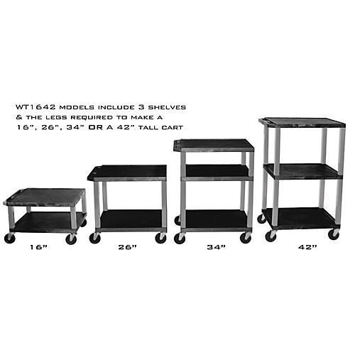 H. Wilson Adjustable-Height Open Shelf Tuffy Cart Black and Nickel Small-Large