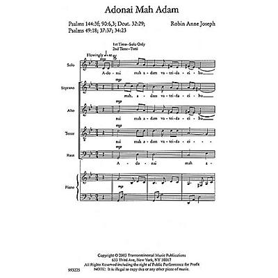 Transcontinental Music Adonai Mah Adam (O God, What Are We?) SATB composed by Robin Joseph