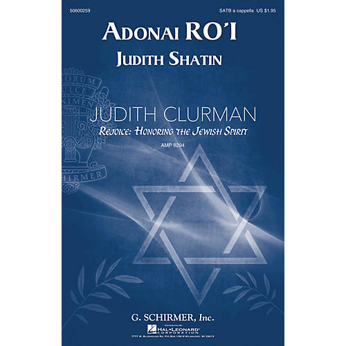 G. Schirmer Adonai Ro'i (Judith Clurman Choral Series) SATB composed by Judith Shatin