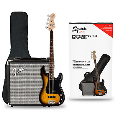 Squier Affinity PJ Bass Pack with Fender Rumble 15G Amp