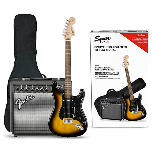 Squier Affinity Series Stratocaster HSS Electric Guitar Pack with Fender Frontman 15G Amp Brown Sunburst