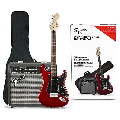 Squier Affinity Series Stratocaster HSS Electric Guitar Pack with Fender Frontman 15G Amp Candy Apple Red