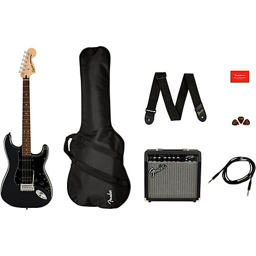 Squier Affinity Series Stratocaster HSS Electric Guitar Pack with Fender Frontman 15G Amp Charcoal Frost Metallic
