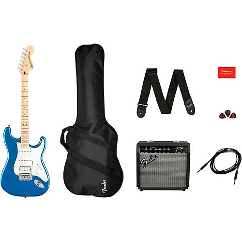 Squier Affinity Series Stratocaster HSS Electric Guitar Pack with Fender Frontman 15G Amp Lake Placid Blue