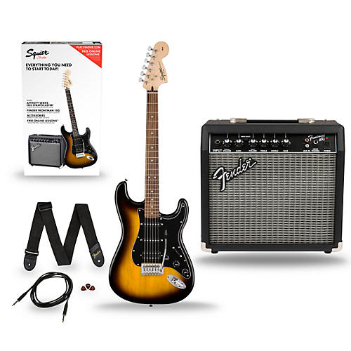 squier affinity stratocaster pack hss electric guitar with fender frontman 15g amp musician 39 s. Black Bedroom Furniture Sets. Home Design Ideas
