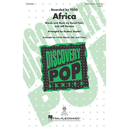 Hal Leonard Africa (Discovery Level 2 3-Part Mixed) 3-Part Mixed by Toto arranged by Audrey Snyder