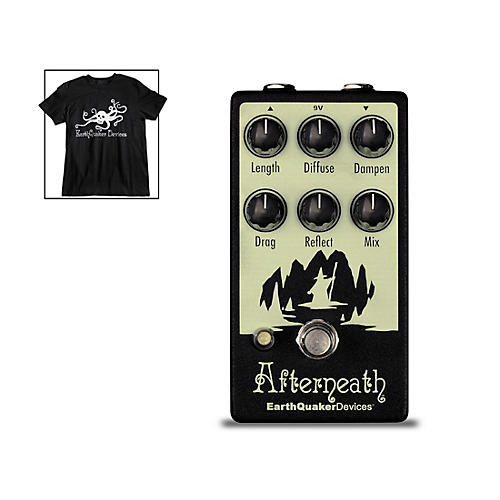 EarthQuaker Devices Afterneath V2 Otherworldly Reverberation Machine Effects Pedal and Octoskull T-Shirt Large Black