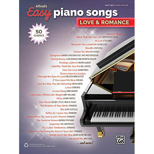 Alfred Alfred's Easy Piano Songs - Love & Romance Easy Hits Piano Songbook