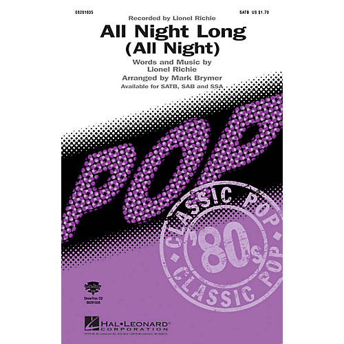 Hal Leonard All Night Long (All Night) SSA by Lionel Richie Arranged by Mark Brymer