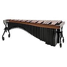 Alpha Series 4.3 Octave Rosewood Marimba with Walnut Rails Black Resonators