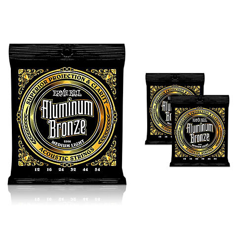 Ernie Ball Aluminum Bronze Medium Light Acoustic Guitar Strings 3-Pack