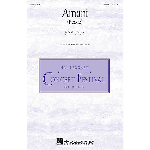 Hal Leonard Amani (Peace) 3-Part Mixed Composed by Audrey Snyder