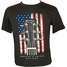 American Flag Guitar T-Shirt Large Charcoal
