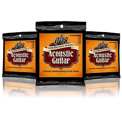 GHS Americana Medium Acoustic Guitar Strings (13-56) - 3 Pack