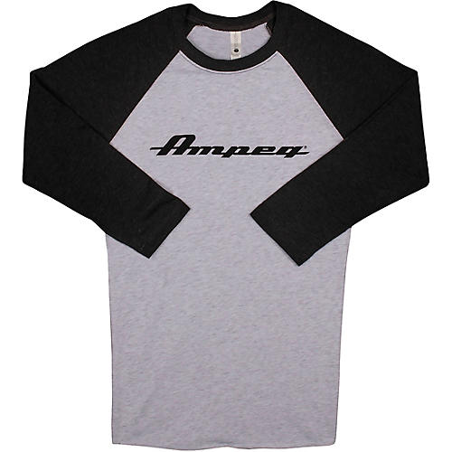 Ampeg Ampeg Raglan Black Sleeve Shirt - White X Large Black and White