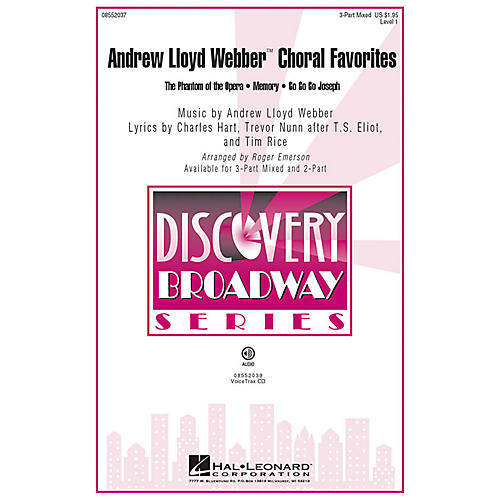 Hal Leonard Andrew Lloyd Webber Choral Favorites 2-Part Arranged by Roger Emerson